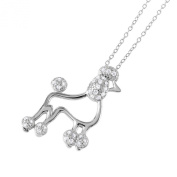 Sterling Silver Rhodium Plated Necklace w/ CZ Stones French Poodle Pendant