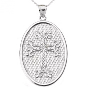 14k White Gold Armenian Cross Oval Pendant Necklace