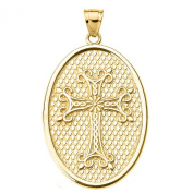 14k Yellow Gold Armenian Cross Oval Pendant