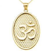 Hindu Yoga 14k Yellow Gold Om/Aum Oval Pendant Necklace