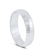 Sterling Silver 6.5MM Dome Brushed Centre Shiny Stepped Edge Ring -