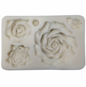 5 Assorted Sizes Roses Resin Fondant Candy Silicone Mould for Sugarcraft, Cake Decoration, Cupcake Topper, Chocolate, Butter, Jewellery, Polymer Clay, Soap Making 13.3x8.5x2.2cm