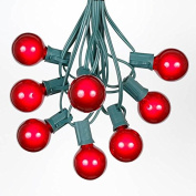 30m G40 Outdoor Lighting Patio Globe String Lights, Red, Green Wire, 125 Bulbs