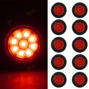 Partsam 10pcs 5.1cm Round Front/Rear Side Marker Red Light Trailer Lamp w/ Grommet Two wire