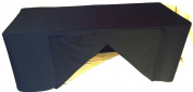 2.4m Fitted Slit Open Back Polyester Tableclothtrade Show Dj Table Cover Black