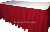 6.4m RED Polyester Pleated Table Skirt Skirting with hook and loop Wedding Trade Show