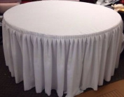 150cm In. Round Table Skirt Cover Polyester w/ Top Topper Pleated Wedding White