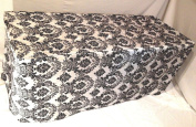 1.8m Fitted Black White Damask Flocked Taffeta Tablecloth Table Cover Wedding