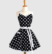 Lovely Sweetheart Retro Kitchen Aprons Woman Girl Cotton Polka Dot Cooking Salon Pinafore Vintage Apron Dress Christmas