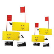 """Krazywolf Planer Board (P009 & P007),Includes Spring Flag system,Left & Right L8""""xW3"""" & L10""""xW3.5``,2 Pairs,Yellow"""