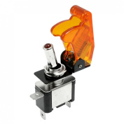 Baomain DC 12V 20A On Off Red LED Illuminated SPST Racing Car Toggle Switch with transparent yellow Cover