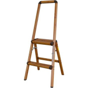AmeriHome Lightweight Aluminium 2-Step Ladder with Faux Wood Finish