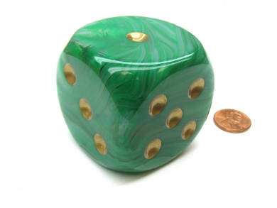 Mystique 50mm Huge Large D6 Chessex Dice, 1 Piece - Green with Gold Pips