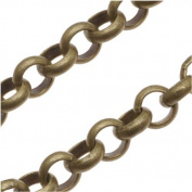 Antiqued Brass Round Rolo Chain - 4.8mm Diameter - Sold By The Foot