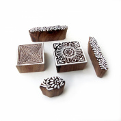 Hand Carved Floral and Geometric Designs Wooden Printing Blocks
