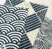 3pc Japanese Wave Style Cotton Fabric for Qualiting and Sweing DIY Fabric Project 40x50cm Blue