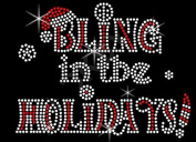 Christmas Bling in the Holidays Rhinestone Iron on T Shirt Transfer