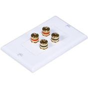 High Quality Banana Binding Post Two-Piece Inset Wall Plate for 2 Speakers - Coupler Type