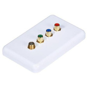 3 RCA Component / F Connector Wall Plate (RGB Component + F Connector) - Coupler Type