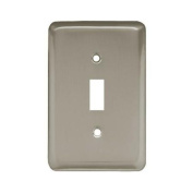 BRAINERD MFG CO/LIBERTY HDW Toggle Wall Plate, 1-Gang, Stamped, Round, Satin Nickel Steel