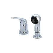 Central Brass Shampoo Widespread Single Lever Handle Faucet with Pull-Out Sprayhead
