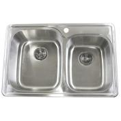 eModern Decor 80cm x 60cm Double Bowl Kitchen Sink