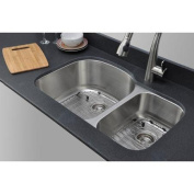 WELLS SINKWARE Craftsmen Series 80cm x 50cm 70/30 D-shaped Double Bowl Kitchen Sink
