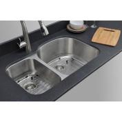 WELLS SINKWARE Craftsmen Series 80cm x 50cm 30/70 D-shaped Double Bowl Kitchen Sink
