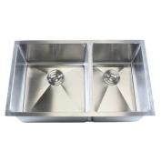 eModern Decor Ariel 80cm x 48cm Double Bowl Undermount Kitchen Sink