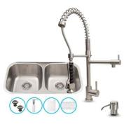 Vigo All-in-One 80cm Stainless Steel Undermount Kitchen Sink and Zurich Stainless Steel Faucet Set