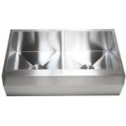 eModern Decor Ariel 90cm x 60cm Stainless Steel 16 Gauge 50/50 Double Bowl Farmhouse Kitchen Sink