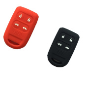 2Pcs New Red And Black Silicone Protect 4 Buttons Smart Key Bag Cover Jacket Case Fob Holder for 2005 2006 2007 2008 2009 2010 2011 Honda Odyssey