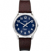 Timex Men's Easy Reader Blue/Silver-Tone Watch, Brown Leather Strap
