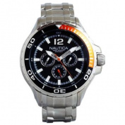 Nautica Classic Stainless Steel Analogue Watch w/ Enamel Bezel - Black - N22617G