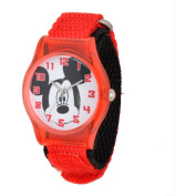 Disney Mickey Mouse Boys' Plastic Case Watch, Red Nylon Strap