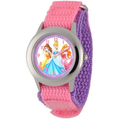 Disney Princess Girls' Stainless Steel Case Watch, Pink Nylon Strap