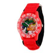 Marvel Hulk Boys' Plastic Case Watch, Red Nylon Strap