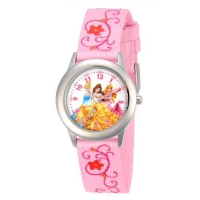 Disney Princess Girls' Stainless Steel Case Watch, Printed Fabric Strap