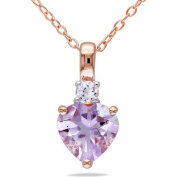 1-4/5 Carat T.G.W. Rose de France and Created White Sapphire Pink Rhodium-Plated Sterling Silver Heart Pendant, 46cm