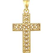 Handcrafted 10kt Gold Heart Design Cross Charm Pendant
