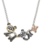 Petite Expressions Diamond Accent Panda Family Necklace in 18kt Gold-Plated over Sterling Silver, 43cm