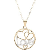 Simply Gold 10kt Yellow Gold with Rhodium Round Open Hearts/Love Pendant, 46cm