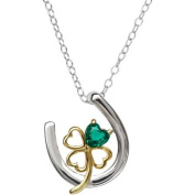 Petite Expressions Created Emerald Four Leaf Clover Horseshoe Pendant in Gold-Plated over Sterling Silver, 46cm