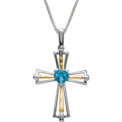 Duet Blue Topaz Sterling Silver and 14kt Yellow Gold Cross Pendant, 46cm