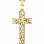 10kt Gold Circle Design Cross Charm Pendant