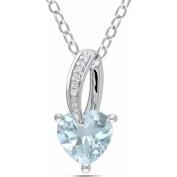 1-1/2 Carat T.G.W. Aquamarine and Diamond-Accent Sterling Silver Heart Pendant, 46cm
