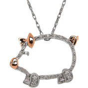 Duet .06 Carat T.W. Diamond Sterling Silver and 14kt Pink Gold Pig Pendant, 46cm