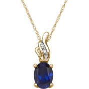 Created Sapphire and Diamond Accent 10kt Yellow Gold Pendant, 46cm