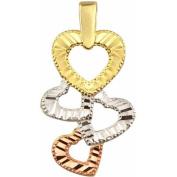 10kt Gold Tri-Colour Heart Charm Pendants