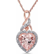 Tangelo 1-3/4 Carat T.G.W. Morganite and Diamond-Accent 10kt Rose Gold Infinity Heart Pendant, 43cm